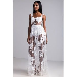 Dresses & Skirts - Sheer floral lace maxi